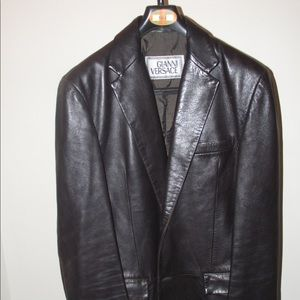 Vintage Gianni Versace leather Blazer jacket Sz 50
